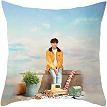 Hosston Kpop BTS Pillowcase, Bangtan Boys Sixth Edition Family Commemorative Photo Pillow Cases 18 x 18 inch Decorative Square Throw Pillow Covers Cushion Cases Best Gift for A.R.M.Y(JUNG KOOK)