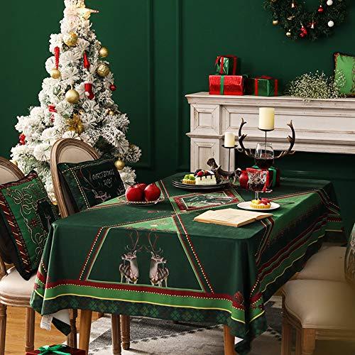 GE&YOBBY Kerst Fluwelen Tafelkleed, Moderne Stof Koffie Tafelhoes, Waterdichte Rechthoek Tafelbeschermer Met Kerstmis Thema Patroon Voor Home Hotel Festival