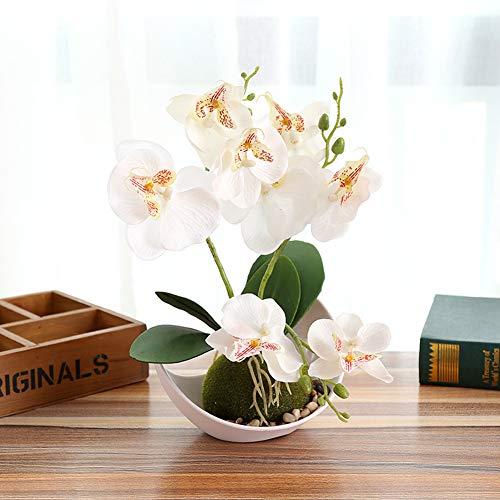 SanQing Artificial orquídea Bonsai Falso Flores con florero en Maceta Planta de Simulación Phalaenopsis Home Decor Interior Exterior Oficina Artificial Planta (1 Paquete),White