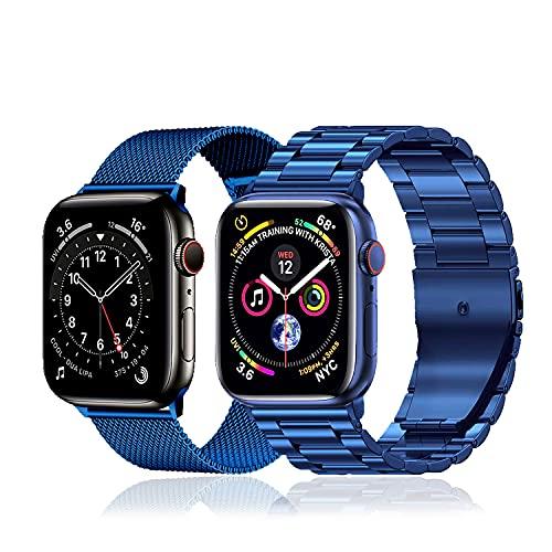 baklon 2 piezas compatibles con correa de reloj Apple 42mm 44mm, correa deportiva de acero inoxidable de repuesto compatible con iWatch Series SE/6/5/4/3/2/1