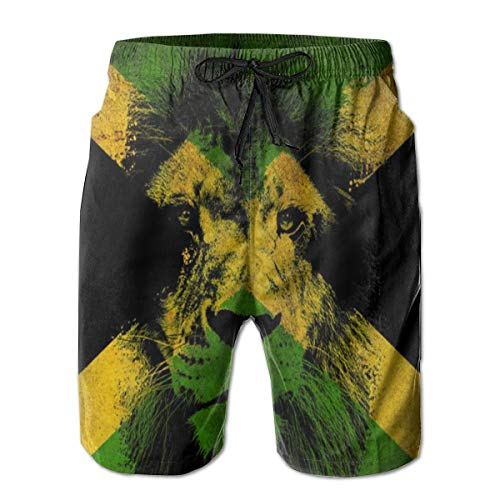Kimisoy Beach Shorts Jamaican Lion Flag (2) Breathable Swimwear Casual Bathing Suits for Men M White