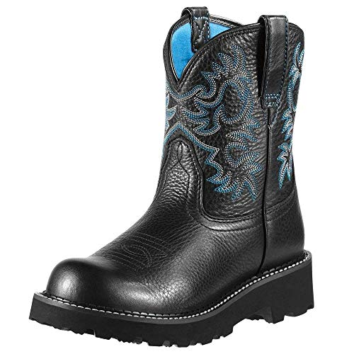 Ariat Fatbaby Collection Western Cowboy Boot, Black Deertan, 6