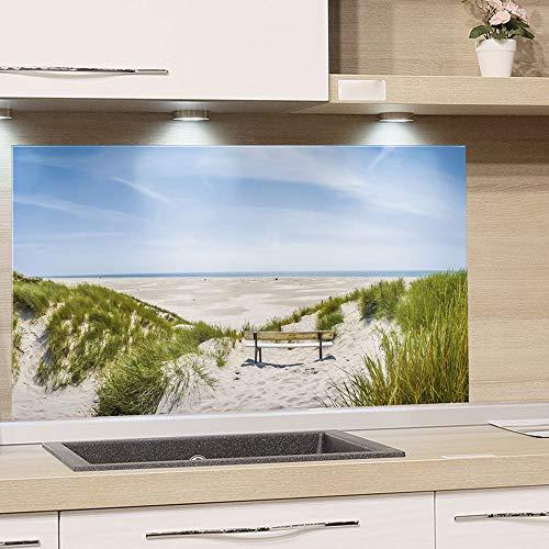 GRAZDesign Spritzschutz Küche Herd, Landschaft Strand Nordsee, Küchenrückwand aus Echtglas / 60x40cm