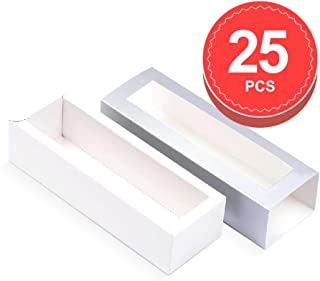 BAKIPACK Macaron Boxes for 6 Macarons 8x3x2 Inches (Pack of 25) Sliver Macaron Boxes Macarons Box with Clear Window (without Macaron inside)