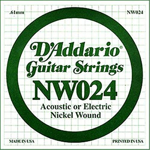 D'Addario NW024 Nickel-Einzelsaite für Gitarren 0,061 cm (0,024 Zoll)