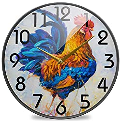 Naanle Colorful Rooster Poultry Painting Print Round Wall Clock, 9.5 Inch Silent Battery Operated Quartz Analog Quiet Desk Clock for Home,Office,School