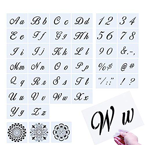 Letter Stencils, 39 Pcs Extra Larger Reusable Alphabet Art Craft Stencils, 36 Plastic Letter Number Templates with 3 Mandala Stencils for Painting on Wood Wall Fabric Rock Fabric Metal Glass