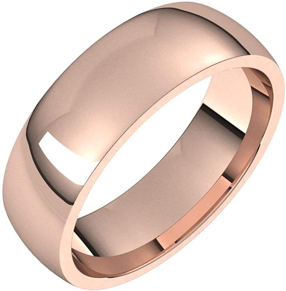 Solid 18k Rose Gold 6mm Comfort Fit Wedding Band Ring Classic Plain Traditional - Size 12