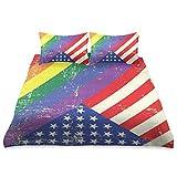 HARXISE Biancheria da Letto - Set Copripiumino,Design a Tema Logoro LGBT Freedom Flag e Old Glory Patriotism Freedom,Set Federa Copripiumino in Fibra Superfine Multicolor