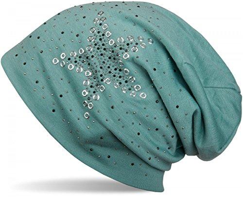 styleBREAKER Beanie Mütze mit Stern Nieten und Strass Applikation, Lochnieten, Unisex 04024049, Farbe:Grün
