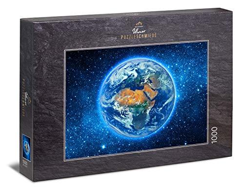 """Ulmer Puzzleschmiede - Puzzle """"Overview"""" - Klassisches 1000 Teile Weltall-Puzzle – Puzzlemotiv der Weltkugel aus der Weltraum-Perspektive - der Overview-Effekt in 1000 kleinen Puzzleteilen"""