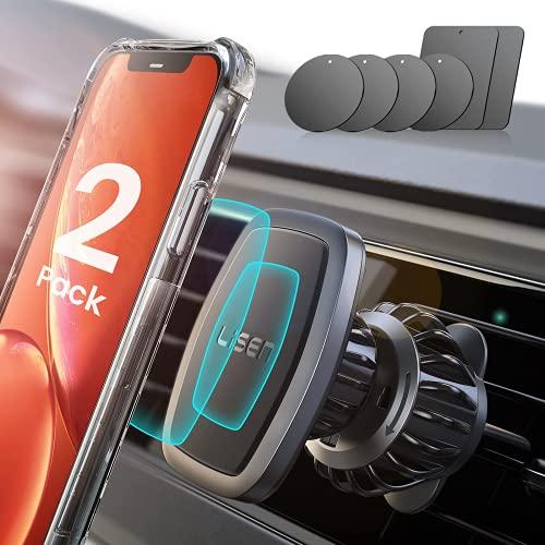 2 Pack Magnetic Phone Mount for Car [6 Metal Plate] ,LISEN Magnetic Car Mount Holder [6 Strong Magnet] 2021 Upgraded Clip Magnetic Vent Car Phone Holder Mount Fit for 4-11in All Phone & Tablet