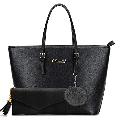 BestoU Handbags for Women Black Large Shoulder Tote Bag for Ladies Purses and Handbags Set