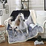 BLAMARIA Tagesdecken Weiß/Schwarz Galoppierendes Pferd Weichem Plüsch Kinder Warme Decken Maschinenwaschbar Couch Camping Nickerchen Große Decke (A) 150 * 200 cm