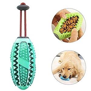 Teepao Brosse à dents à mâcher pour chien Jouet à mâcher Rugby Pet Molar Stick alimentation lente Chiot Jouets de dentition pour chiens de petite, moyenne et grande taille, balle de dressage du QI avec corde - 360 dents propres