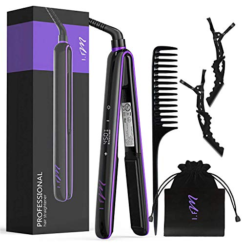 Hair Straightener, I.FM 2 in 1 Straightens & Curls Flat Iron Ceramic for All Hair, Salon High Heat 265℉-450℉, LCD Digital Display with Touch Screen, Travel Design with Bag [Newest 2019]
