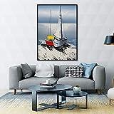 Sadhaf estilo nórdico decoración de la habitación de los niños lienzo arte vela paisaje pintura abstracta impresión decoración del hogar cartel A4 60x80 cm