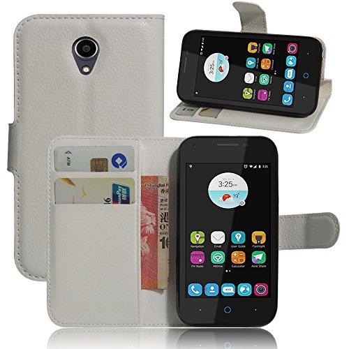 Ycloud Tasche für ZTE Blade L110 Hülle, PU Ledertasche Flip Cover Wallet Case Handyhülle mit Stand Function Credit Card Slots Bookstyle Purse Design weiß