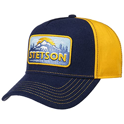 Stetson Cappellino Trucker Polar Uomo - Mesh cap Berretto Baseball Snapback Snapback, con Visiera, Visiera Estate/Inverno - Taglia Unica Blu-Giallo