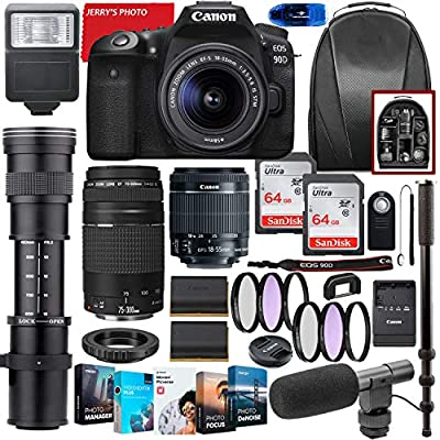 Canon EOS 90D DSLR Camera with 18-55mm STM & 75-300mm III Lens Bundle + CO 420-800mm Zoom Telephoto + Premium Accessory Bundle Including 2 x 64GB Memory, Filters, Software Package, Backpack & More by Canon Intl.