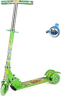 Tindal Scooter para niños Scooter Slider de Tres Ruedas Flash Scooter Bicicleta Plegable Ajustable para niños Regalo (Color : Green)