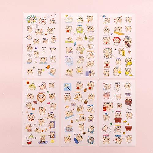 BLOUR 6 unids/Set Lindo Kawaii Dibujos Animados Gato Pegatinas Diario álbum de Recortes decoración papelería Oficina Escuela Diario Adhesivo álbum Coreano