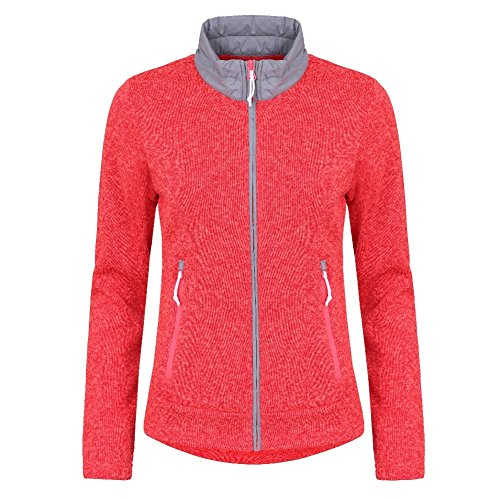 Icepeak Lilja Fleecejacke Strickjacke für Damen, Damen Größen:46, Farbe:neon-orange