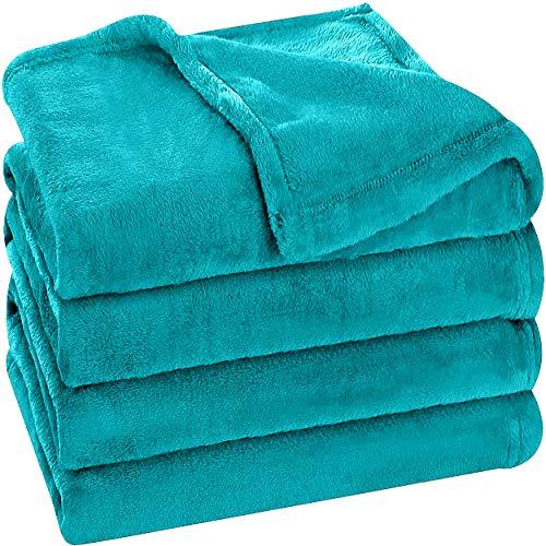 Utopia Bedding Fleece Blanket Queen Size Turquoise 300GSM Luxury Bed Blanket Anti-Static Fuzzy Soft Blanket Microfiber