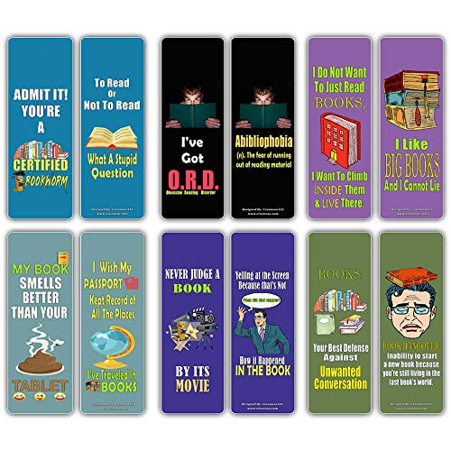 Creanoso Insanely Hilarious Literary Bookmarks (12-Pack) – Hilariously Silly Bookmarks for Inspirational Reading – Great Reading Rewards Incentives for Book Lovers and Hilarious Gifts for Young Reader