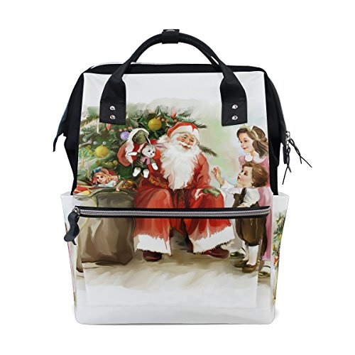 tizorax Kinder und Weihnachten Santa Claus neben das neue Jahr Baum Windel Rucksack Große Kapazität Baby-Bag Multifunktions-Wickeltaschen Mom Rucksack Reisen für Baby Care