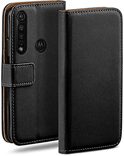 moex Klapphülle für Motorola Moto G8 Plus Hülle klappbar, Handyhülle mit Kartenfach, 360 Grad Schutzhülle zum klappen, Flip Hülle Book Cover, Vegan Leder Handytasche, Schwarz