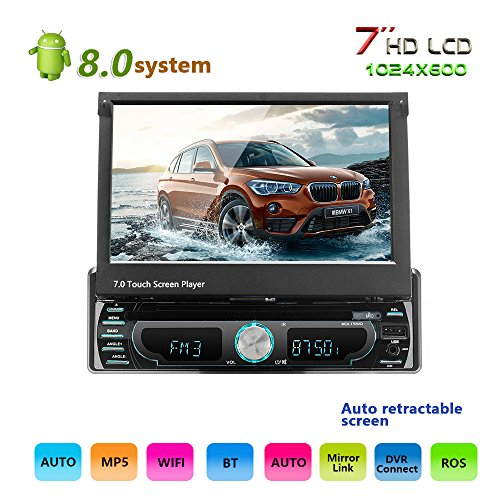 Podofo autoradio Android 8.0 Stereo per auto 7 pollici nel touch screen Navigazione GPS Lettore FM / AM/ AUX / FM / USB / MP3 / MP4