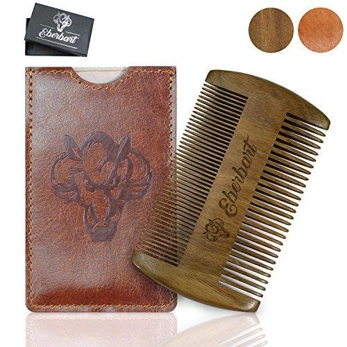 Eberbart Bartkamm inkl. Kunstleder Etui + Gratis-eBook – Antistatischer Echtholzkamm für einen natürlich gepflegten Bart (Sandelholz + Etui)