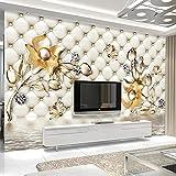 asfdgkwejd mural gigante pared 390x260CM Lujo bolso suave flor joyería. Cubos 3D Papel tapiz colorido Foto Mural de pared Sala de estar del hogar Decoración del hogar