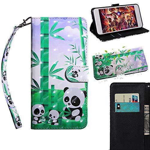 Capa carteira para LG X power2, capa para LG K10 Power, capa de couro sintético JYZR com pintura 3D flip protetora com alça de pulso para cartão de crédito e suporte para LG X Power 2/K10 Power, comer panda de bambu