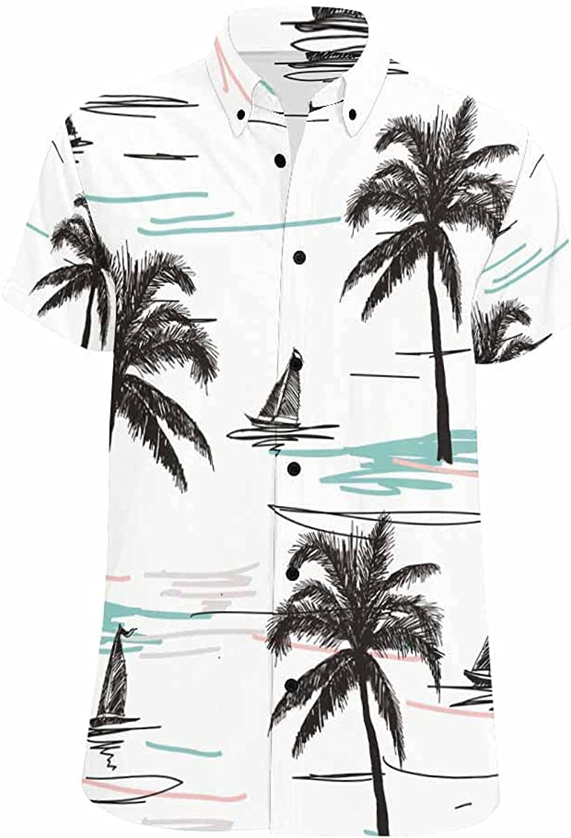 InterestPrint Beautiful Blue Florals Men's Hawaiian Shirts Short Sleeve Button Down Beach Shirts