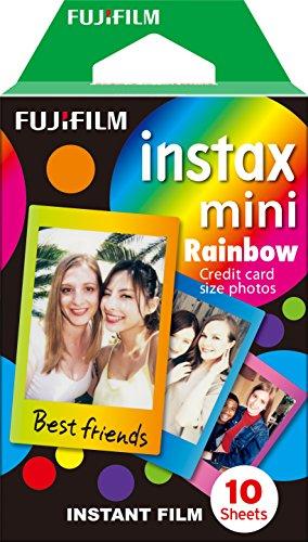 Fujifilm Instax Mini Instant Film, 1x 10 Blatt (10 Blatt), Weiß & Mini Frame WW1 Rainbow, Bunt