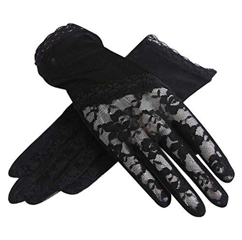 Black Temptation Gants de Soleil de Style Mince et Court utilisent en été Anti-UV et écran Tactile, Noir