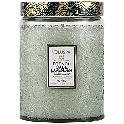 Voluspa French Cade and Lavender Large Embossed Glass Jar Candle, 16 Ounces by PRODYNE CORPORATION