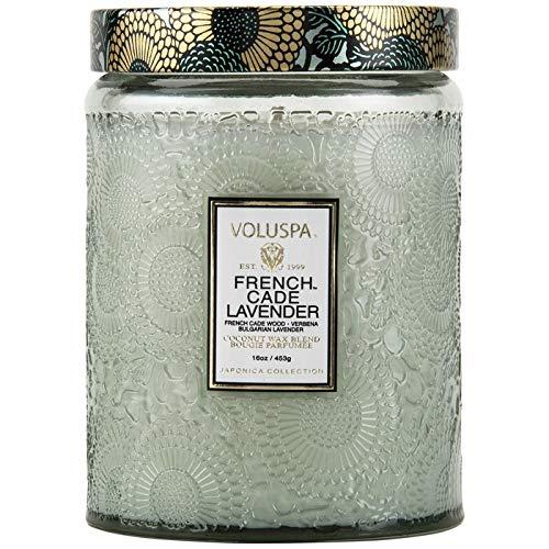 Voluspa Japonica Limitierte Edition, Kerze im Glas mit Duft von französischer Zeder und Lavendel, geprägtes Glas