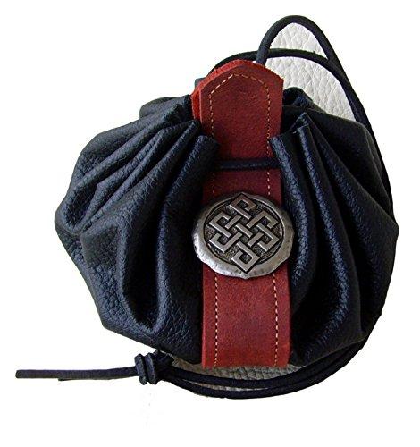 Lederbeutel Dukatenbeutel Geldkatze Farbe schwarz rot Kelten Knoten