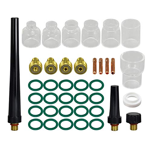 TIG Gas Lens Collet Body Pyrex Cup Kit for DB SR WP 9 20 25 TIG Welding Torch 39pcs
