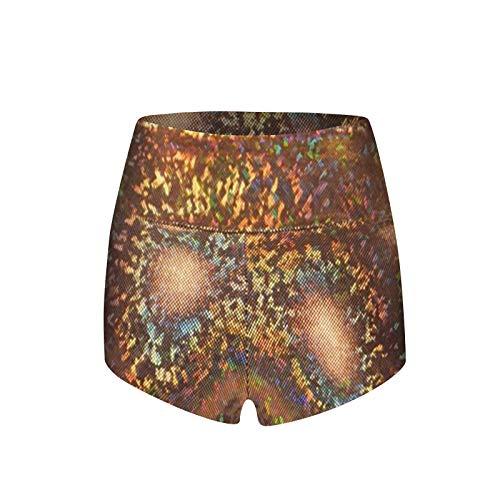 Yowablo Shorts Leggings Frauen Mode Casual Pants Print Schlanke elastische Sport Hot Short Pants ( XXL,2Gelb )