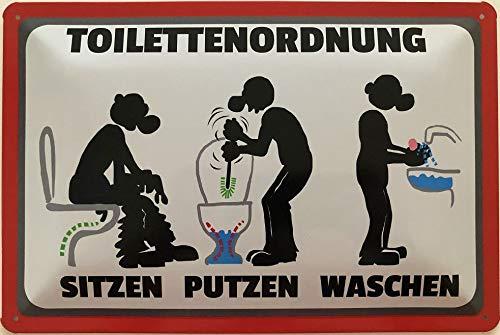 Deko7 Blechschild 30 x 20 cm Toilettenordnung - Sitzen Putzen Waschen