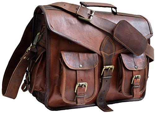 JAALD 38 cm echt lederen laptoptas schoudertas fietstas schooltas waterdicht vintage heren dames cadeau XL lederen messenger bag