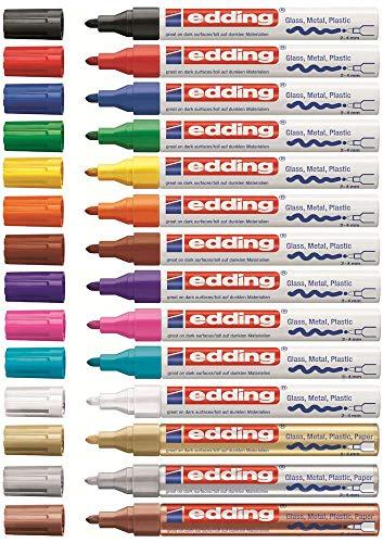 edding 4-750-9-999 Glanzlack-Marker creative 750, 2 - 4 mm, 13 fach sortiert mit gold, silber und kupfer