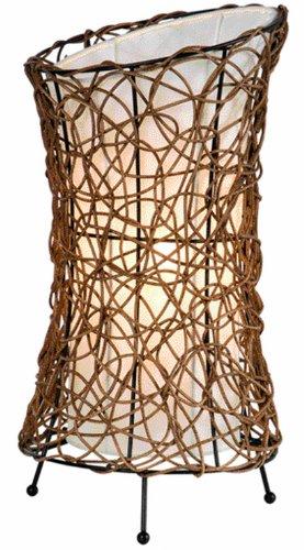 Nino Leuchten 50020143 Ruth - Lampada da tavolo a 1 luce con paralume in rattan e interno in stoffa, altezza: 40 cm, diametro: 20 cm