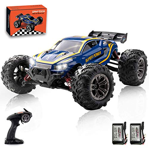 EPHYTECH 1:16 Remote Control Car, 2.4Ghz 4WD 40+ km/h Radio Controlled RC Car Electronic Monster Truck, 4x4 All Terrain Off Road Vehicles with 2 Rechargeable Batteries for Boys Kids and Adults