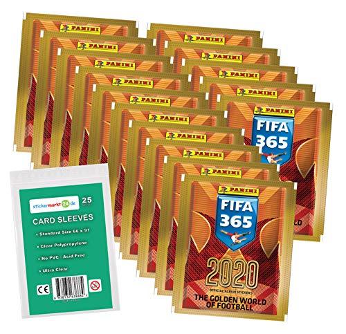 FIFA 365 Edition 2020 - Sticker - 15 Booster ( 75 Sammelsticker ) + stickermarkt24de Sleeves