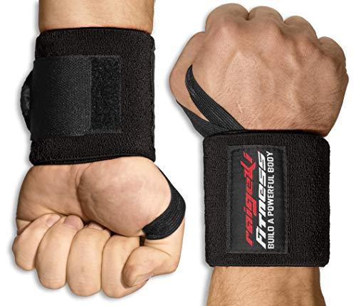 Raigeki Fitness Handgelenk Bandagen [2er Set] Extra starker Halt (+ Trainingspläne) Handgelenkbandagen für Krafttraining - Wrist Wraps für Frauen und Männer